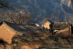 Ruhe und ruhiges altes Dorf im Nordporzellan Stockbild