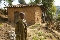 RUHENGERI, RWANDA - SEPTEMBER 7, 2015: Unidentified African boy. Royalty Free Stock Image