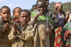 RUHENGERI, RWANDA - SEPTEMBER 7, 2015: Unidentified children. Stock Photo