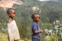 RUHENGERI, RWANDA - SEPTEMBER 7, 2015: Unidentified children. Royalty Free Stock Photography