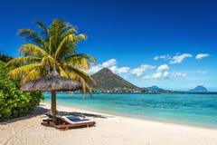 Ruhesessel und Regenschirm auf tropischem Strand in Mauritius Lizenzfreies Stockfoto