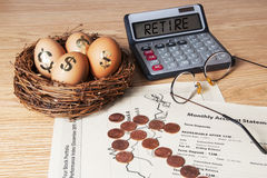 Ruhestands-Notgroschen Stockfoto