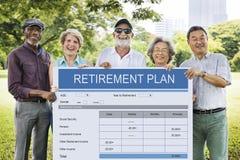 Ruhestandsplan-Form-Investitions-älteres erwachsenes Konzept lizenzfreie stockbilder