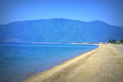Ruhestrandansicht, Asprovalta Griechenland Lizenzfreie Stockbilder