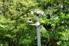 Ruhestromkamera auf dem Parkplatz Überwachungskamera Lizenzfreies Stockfoto