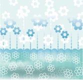 Ruhige blaue Retro- Karte mit Blumen Stockfotos