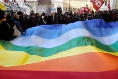 Ruhige Demonstration in Rom, Italien Lizenzfreie Stockfotos