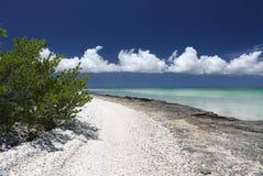 Ruhige Insel mit kleinen Oberteilen auf dem Strand in der Türkiswasserlagune Stockfotografie