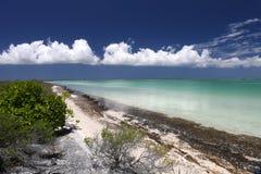 Ruhige Insel mit korallenrotem Strand in der Türkiswasserlagune Stockfoto