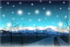 Ruhige Landstraße in der Winterdämmerung - grafische Malereibeschaffenheit Lizenzfreies Stockfoto