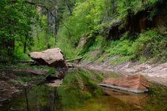 Ruhige Reflexionen des Eichen-Nebenflusses Stockfoto