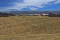 Ruhige rote Scheune in der Landschaft Iowa, USA Stockbilder