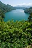 Ruhige Seeeinfassung durch Wälder und Berge Stockbild