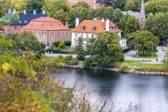 Ruhige skandinavische Stadt, geregeltes Leben Lizenzfreies Stockfoto