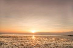 Ruhige Szene mit Seemöwenfliegen auf Sonnenuntergang stockfotos