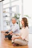 Ruhige zufällige meditierende Geschäftskollegen stockfoto