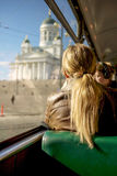 Ruhiger Morgen auf Tram in Helsinki, Finnland Stockfoto