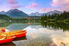 Ruhiger See, fantastische Berge und Himmel stockbild