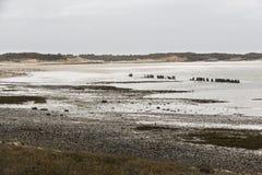 Ruhiger Strand in Normandie lizenzfreies stockbild