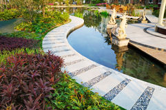 Ruhiger Teich im Garten Lizenzfreie Stockfotos