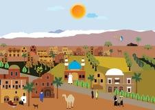 Ruhiges arabisches Dorf in der Wüste stock abbildung