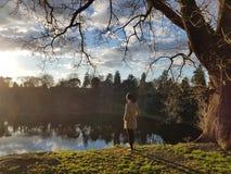 Ruhiges Bild einer Person, die tief in der Naturlandschaft denkt stockbilder