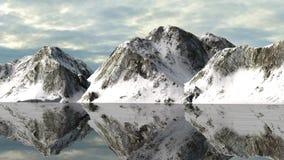 Ruhiges Wasser von einem Gletschersee mit Snowy-Berg-behin Stockfoto