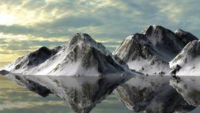 Ruhiges Wasser von einem Gletschersee mit Snowy-Berg-behin Stockbild