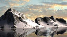 Ruhiges Wasser von einem Gletschersee mit Snowy-Berg-behin Stockfotos