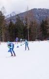 Ruhpolding Tyskland, 2016/01/06: utbildning för Biathlonvärldscupen i Ruhploding Royaltyfri Foto