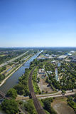 Ruhr Valley. An outlook over the Ruhr Valley, with the Dortmund-Herne canal, the freeway A42 and the shopping center Centro in Oberhausen, Germany Stock Photos