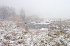 Ruhr valley meadows during snowfall Stock Photos