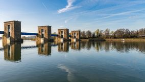 Ruhrwehr Duisburg, Germany. Ruhrwehr, bridge over the River Ruhr in Duisburg, North Rhine-Westphalia, Germany royalty free stock images