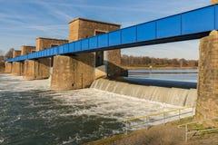 Ruhrwehr Duisburg, Germany. Ruhrwehr, bridge over the River Ruhr in Duisburg, North Rhine-Westphalia, Germany royalty free stock photo