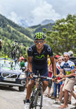 Andrey Amador Climbing Alpe DDhuez. Alpe-DHuez,France- July 18, 2013:The Costa Rican cyclist Andrey Amador from Movistar Team climbing the difficult road to Alpe Stock Photography
