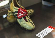 In San Siro Museum. Rui Costa Sports shoes at the exposition of San Siro museum. Milan, Italy stock photo