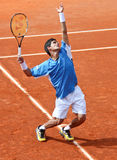 Rui Machado. To serve during a match of ATP Genoa Open Challenger 2011 (Italy Royalty Free Stock Image