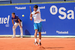 Rui Machado (tennis player from Portugal) plays at the ATP Barcelona Royalty Free Stock Image