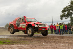 Rui Sousa drives a Isuzu D-Max. PORTALEGRE, PORTUGAL - NOVEMBER 3: Rui Sousa drives a Isuzu D-Max in BAJA 500, integrated on FIA World Cup for Cross-Country Royalty Free Stock Images