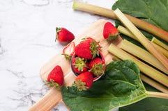 Ruibarbo y fresas Imagen de archivo libre de regalías