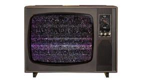 Ruido estático y llave verde de la croma en un viejo aparato de TV del vintage aislado metrajes