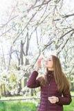 Ruikt het aucasian meisje Ð ¡ het bloeien van een kers in een bloeiende tuin Stock Foto