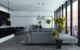 Ruime moderne woonkamer zonder tussenmuren Royalty-vrije Stock Foto's