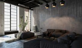 Ruime woonkamer in zolderstijl stock illustratie