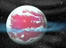 Ruimte achtergrond met planeten en sterren royalty-vrije illustratie