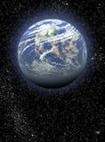 Ruimte achtergrond met planeten en sterren stock illustratie