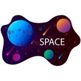 Ruimte achtergrond met planeten en sterren Vector illustratie vector illustratie