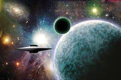 Ruimte Ambacht dichtbij planeet vector illustratie