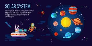 Ruimte, astronaut, planeten en ruimtestation Royalty-vrije Stock Afbeelding