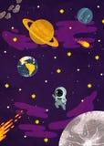 ruimte astronaut tijdens de vlucht en planeten op de achtergrond stock illustratie